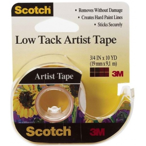 "Scotch® Low Tack Artist Tape; Type: Artist; Width: 3/4""; (model FA2020), price per roll"