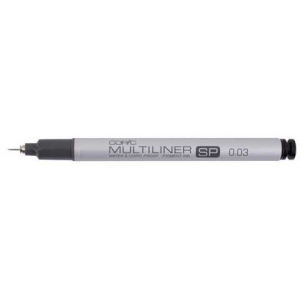 Copic® Multiliner SP (Refillable) Black Pen .03mm; Color: Black/Gray; Ink Type: Pigment; Refillable: Yes; Tip Size: .03mm; Tip Type: Fine Nib; (model MLSP003), price per each