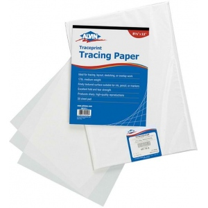 "Alvin® Traceprint Tracing Paper 100-Sheet Pad 11"" x 17"": Fold Over, White/Ivory, Sheet, 100 Sheets, 11"" x 17"", Tracing, 17 lb, (model 6811-S-5), price per 100 Sheets"
