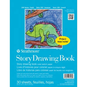"Strathmore® 100 Series 8 1/2"" x 11"" Wire Bound Story Drawing Book; Binding: Wire Bound; Color: White/Ivory; Format: Book; Quantity: 30 Sheets; Size: 8 1/2"" x 11""; Type: Drawing; (model ST27-408-1), price per each"
