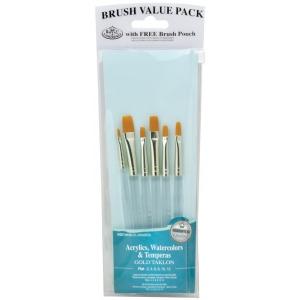 Royal & Langnickel® 9100 Series  Zip N' Close™ Teal Blue 6-Piece Brush Set 6; Length: Short Handle; Material: Taklon; Shape: Shader; Type: Acrylic, Tempera, Watercolor; (model RSET-9159), price per set