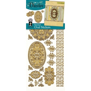 """Dazzles™ Stickers Gold Stacked Oval; Color: Metallic; Size: 4"""" x 9""""; Type: Outline; (model HOTP1833), price per each"""