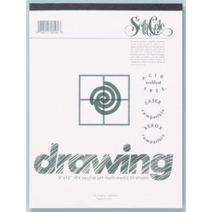 "Seth Cole 18"" x 24"" Drawing Paper Pad: White/Ivory, Pad, 24 Sheets, 18"" x 24"", 80 lb, (model SC64C), price per 24 Sheets pad"