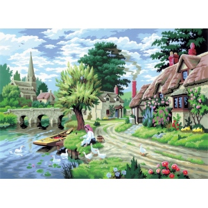 "Royal & Langnickel® Painting by Numbers™ 12 3/4 x 15 3/4 Adult Set Duck Feeding; Board Size: 12 3/4"" x 15 3/4""; (model PAL11), price per set"