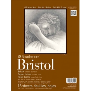 "Strathmore 400 Series Bristol Paper: Tape Bound, 2-Ply Smooth Surface, 11"" x 14"", Pad of 15 Sheets"