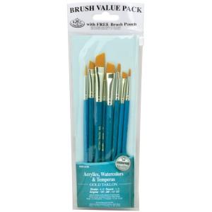 Royal & Langnickel® 9100 Series  Zip N' Close™ Teal Blue 8-Piece Brush Set 15: Short Handle, Taklon, Angular, Round, Shader, Acrylic, Tempera, Watercolor, (model RSET-9186), price per set