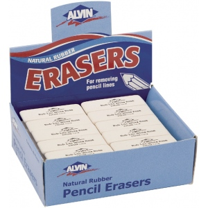 Alvin® Rub-Lite White Rose Soft Erasers 40/Box: Rubber, 40-Box, Manual, (model 2303AE), price per 40-Box box