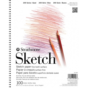 "Strathmore® 200 Series 11"" x 14"" Wire Bound Sketch Pad; Binding: Wire Bound; Color: White/Ivory; Format: Pad; Quantity: 100 Sheets; Size: 11"" x 14""; Weight: 50 lb; (model ST25-511), price per 100 Sheets pad"