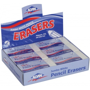 Alvin® Jumbo White Pencil Erasers 12/Box; Material: Vinyl; Quantity: 12-Box; Type: Manual; (model 1450AE), price per 12-Box box