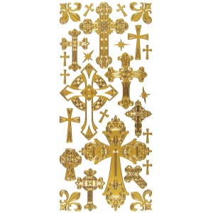 "Dazzles™ Stickers Crosses Gold; Color: Metallic; Size: 4"" x 9""; Type: Outline; (model HOTP2024), price per each"