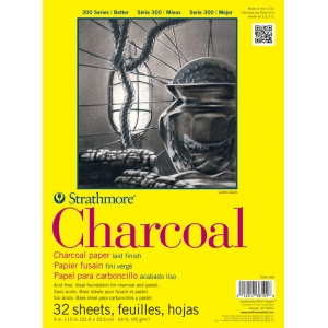 "Strathmore® 300 Series 9"" x 12"" White Glue Bound Charcoal Pad; Binding: Glue Bound; Color: White/Ivory; Finish: Laid; Format: Pad; Quantity: 32 Sheets; Size: 9"" x 12""; Type: Charcoal; Weight: 64 lb; (model ST330-109), price per 32 Sheets pad"