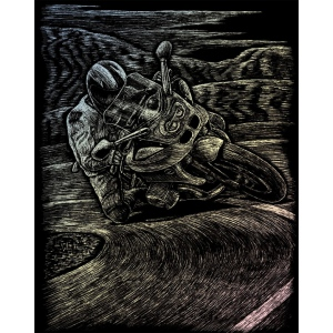 "Royal & Langnickel® Engraving Art Set Holographic Foil Motorcycle Racing; Board Size: 8"" x 10""; Color: Metallic; (model HOLO19), price per set"