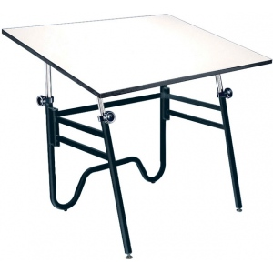 "Alvin® Opal Table Black Base White 31"" x 42""; Angle Adjustment Range: 0 - 45; Base Color: Black/Gray; Base Material: Steel; Height Range: 29"" - 44""; Top Color: White/Ivory; Top Material: Melamine; Top Size: 31"" x 42""; (model OP42-3), price per each"