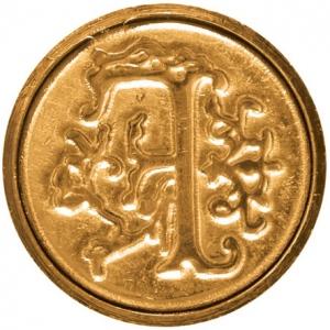 """Manuscript Initial Ceramic Mini Seal F: Round, 3/4"""", (model MSH725F), price per each"""