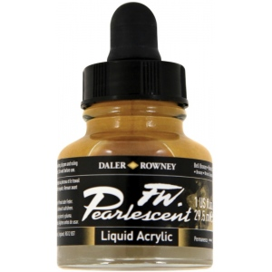 FW Pearlescent Liquid Acrylic Ink 1 oz. Bell Bronze; Color: Metallic; Format: Bottle; Ink Type: Acrylic; Size: 1 oz; (model FW603201110), price per each