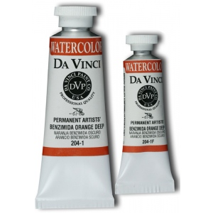 Da Vinci Artists' Watercolor Paint 37ml Benzimida Orange Deep; Color: Orange; Format: Tube; Size: 37 ml; Type: Watercolor; (model DAV204-1), price per tube