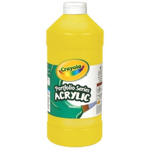 Crayola® Portfolio Series Acrylic Paint Brilliant Yellow: Yellow, Bottle, 16 oz, Acrylic, (model BAS260), price per each