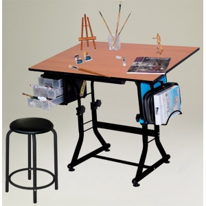 "Martin Ashley Creative Center (With Stool) Black Base with 24"" x 36"" Cherry Wood Top"