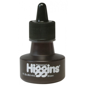 Higgins® Waterproof Color Drawing Ink Brown; Color: Brown; Format: Bottle; Ink Type: Dye-Based; Size: 1 oz; Waterproof: Yes; (model SN44116), price per each
