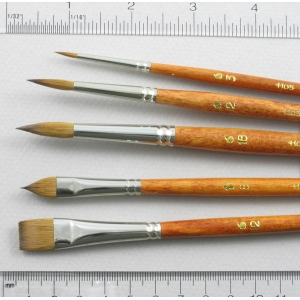 Long-Handle Set of 5 Kolinsky Sable Art Brushes