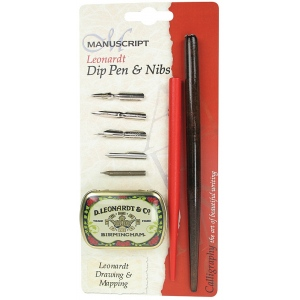 Manuscript Leonardt Dip Pen & Nibs Drawing & Mapping Set; Nibs Included: Yes; Tip Type: Copying Nib, Drawing Nib, Lithographic Nib, Mapping Nib, Point Nib; Type: Calligraphy; (model MDP2086), price per set