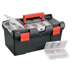 "Heritage Arts™ Medium Art Black Tool Box; Color: Black/Gray; Material: Plastic; Size: 7 1/8""d x 15 1/2""w x 8 3/4""h; (model HPB1609), price per each"