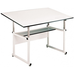 "Alvin® WorkMaster® Table White Base White Top 36"" x 48"": 0 - 40, White/Ivory, Steel, 29"" - 46"", White/Ivory, Melamine, 36"" x 48"", (model WM48-4-XB), price per each"