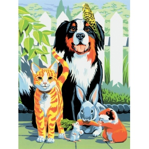 "Royal & Langnickel® Painting by Numbers™ 8 3/4 x 11 3/8 Junior Small Set Family Pets; Board Size: 8 3/4"" x 11 3/8""; (model PJS29), price per set"