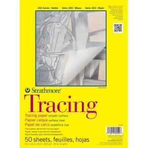 "Strathmore® 300 Series 9"" x 12"" Tape Bound Tracing Pad; Binding: Tape Bound; Format: Pad; Quantity: 50 Sheets; Size: 9"" x 12""; Texture: Smooth; Weight: 25 lb; (model ST370-9), price per 50 Sheets pad"