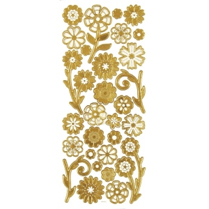 "Dazzles™ 3-D Flowers Gold: Metallic, 4"" x 9"", Dimensional, (model HOTP2078), price per each"