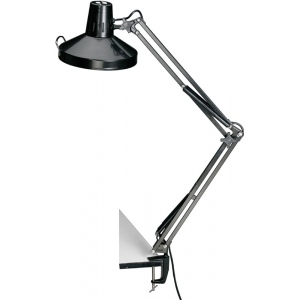 """Alvin® Black Swing-Arm Combination Lamp with CFL Bulb; Color: Black/Gray; Shade Size: 10"""" & Up; Style: Swing-Arm; Wattage: 26-75w, 8-25w; (model CLCFL1755-B), price per each"""