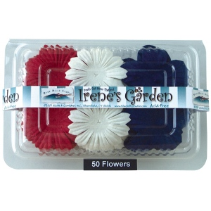 "Flower Pack Red/White/Blue; Color: Multi; Material: Paper; Size: 2""+; Type: Dimensional; (model BHS10758), price per pack"
