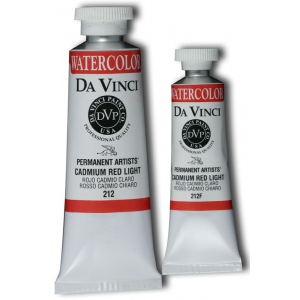 Da Vinci Artists' Watercolor Paint 15ml Cadmium Red Light: Red/Pink, Tube, 15 ml, Watercolor, (model DAV212F), price per tube
