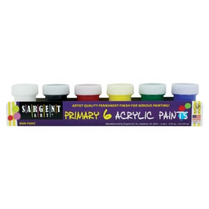 Sargent Art® Primary Acrylic Paint Set: Multi, Jar, Acrylic, (model 665420), price per set