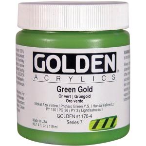 Golden® Heavy Body Acrylic 4 oz. Green Gold; Color: Green, Metallic; Format: Jar; Size: 118 ml, 4 oz; Type: Acrylic; (model 0001170-4), price per each