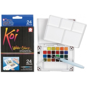 Koi™ Watercolor Paint Pocket Field Sketch 24-Color Set: Multi, Pan, Watercolor, (model XNCW-24N), price per set