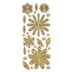 """Dazzles™ Stickers Gold Flower: Metallic, 4"""" x 9"""", Outline, (model HOTP1834), price per each"""
