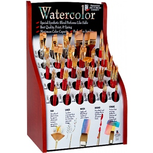 Princeton™ Best Synthetic Sable Watercolor and Acrylic Brush Display; Grade: Best; Length: Multi, Short Handle; Material: Synthetic Sable; Shape: Multi; Size: Multi; Type: Acrylic, Multi, Watercolor; (model 4050D), price per each
