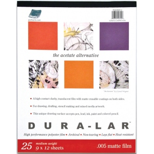 "Grafix® Matte Dura-lar™ 19"" x 24"" Matte Film; Finish: Matte; Format: Pad; Quantity: 25 Sheets; Size: 19"" x 24""; Thickness: .005""; Type: Film; (model DM1924), price per 25 Sheets pad"