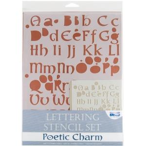 "Blue Hills Studio™ Lettering Stencil Set Poetic Charm; Scale: 1"", 3/8""; Type: Lettering; (model BHS106SET), price per set"