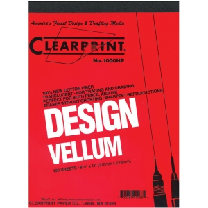 "Clearprint® 1000H Series 22 x 34 Unprinted Vellum 100-Sheet Pack; Format: Pad; Grid Size/Pattern: Unprinted; Quantity: 100 Sheets; Size: 22"" x 34""; Weight: 16 lb; (model CP10201526), price per 100 Sheets"