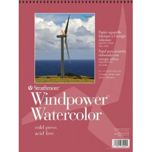 "Strathmore® Windpower™ 11"" x 15"" Cold Press Wire Bound Watercolor Pad: Wire Bound, White/Ivory, Pad, 15 Sheets, 11"" x 15"", Cold Press, 140 lb, (model ST640-11), price per 15 Sheets pad"