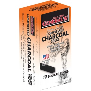 General's® Compressed Charcoal Sticks 2B; Color: Black/Gray; Degree: 2B; Format: Stick; Type: Compressed; (model 957-2B), price per dozen (12-pack)
