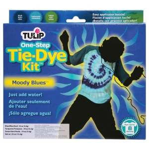 Tulip® One-Step Dye™ Moody Blues Tie-Dye Kit for 8 Shirts; Capacity: 8 Shirts; Color: Multi; Format: Bottle; Ink Type: Tie Dye; (model D25544), price per kit