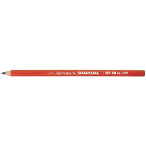 General's® Charcoal Pencil 6B: Black/Gray, 6B, Pencil, (model 557G-6B), price per dozen (12-pack)