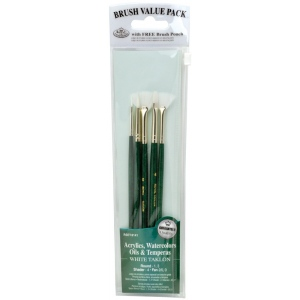 Royal & Langnickel® 9100 Series  Zip N' Close™ Green 5-Piece Brush Set 2; Length: Short Handle; Material: Taklon; Shape: Fan, Round, Shader; Type: Acrylic, Oil, Tempera, Watercolor; (model RSET-9141), price per set