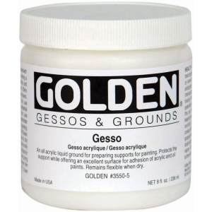Golden® Gesso 8 oz.; Color: White/Ivory; Size: 236 ml, 8 oz; Type: Gesso; (model 0003550-5), price per each