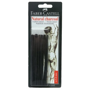 Faber-Castell® Natural Willow Charcoal Stick 12-Pack; Color: Black/Gray; Format: Stick; Size: 5 mm - 8 mm; Type: Willow; (model FC129298), price per pack