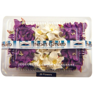 "Blue Hills Studio™ Irene's Garden™ Box O'Gardenias Dimensional Paper Flowers Dark Purple/White: Purple, White/Ivory, Paper, 2"", 3"", Dimensional, (model BHS107518), price per box"