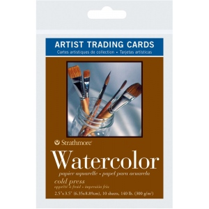 "Strathmore® 400 Series 2.5"" x 3.5"" Cold Press Watercolor Artist Trading Cards: White/Ivory, Artist Trading Card, 10 Cards, 2 1/2"" x 3 1/2"", Cold Press, Watercolor, 140 lb, (model ST105-904), price per 10 Cards"